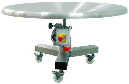 Rotary buffer table, concave, with castors